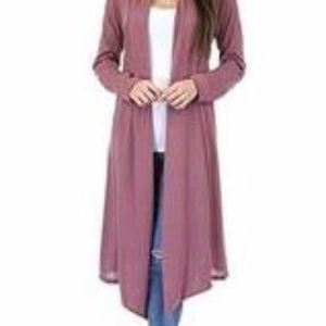 Rags & Couture Women's Hacci Cardigan - Dark Mauve